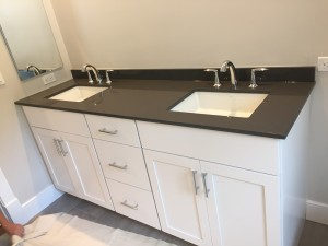 "Double vanity undermount sinks with 8"" cc faucet"