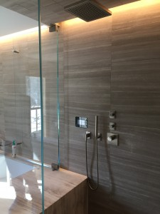 Master bath shower with rainhead handshower thermostatic valve and 2 volume controls.